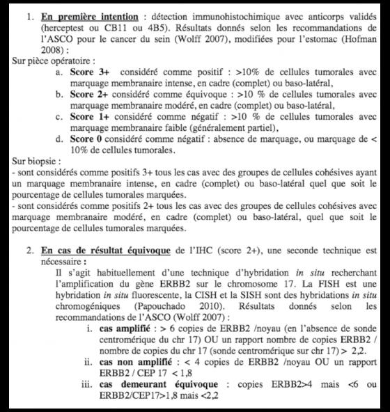 Recommandations du réseau ONCOMOLPATH pour l'interprétation de l'expression d'HER2 dans les adénocarcinomes de l'estomac