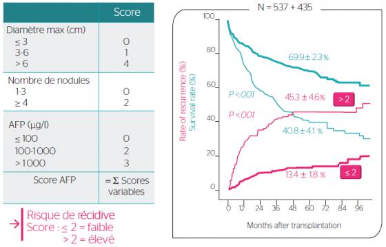 Figure 2. Le score AFP utilisé pour sélectionner les patients évalués pour CHC en vue d'une transplantation et probabilités correspondantes de récidive et de survie post-greffe