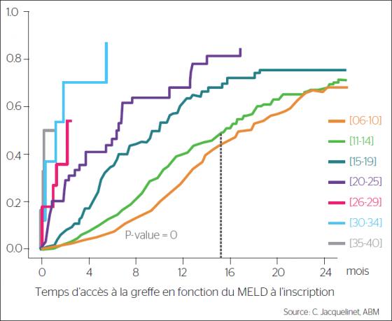 Cinétique d'accès à la greffe des CHC en fonction du score MELD