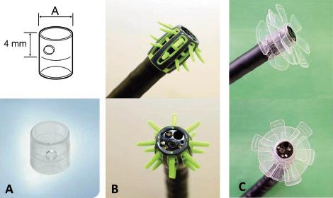 Figure 4. Coloscopie assistée par capuchon. A : capuchon transparent, B : capuchon Endocuff®, C : capuchon Endoring®