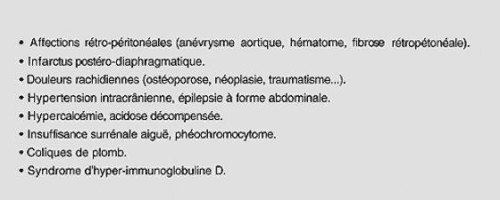 Table I. Affections non digestives pouvant donner des douleurs à projection abdominale, le plus souvent aiguës. Référence [2]