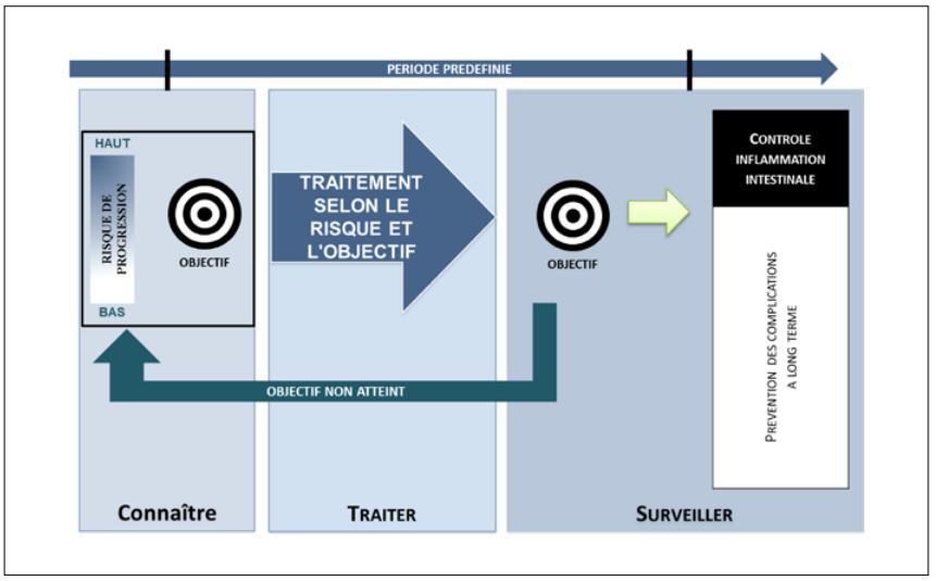 Représentation schématique d'une stratégie du treat-to-target
