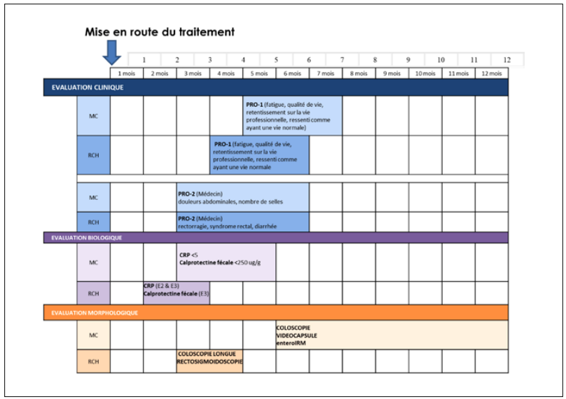 Synthèse des propositions du consensus français pour le type d'évaluation et leur positionnement dans le temps