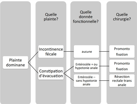 Figure 2 : proposition d'algorithme de prise en charge chirurgicale d'une procidence interne du rectum responsable de symptômes fonctionnels invalidants et chroniques